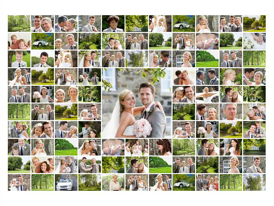 collage maken van 100 fotos slider