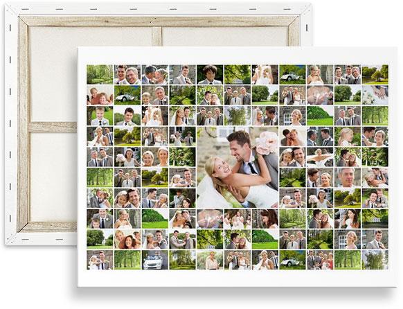 collage maken van 100 fotos su tela